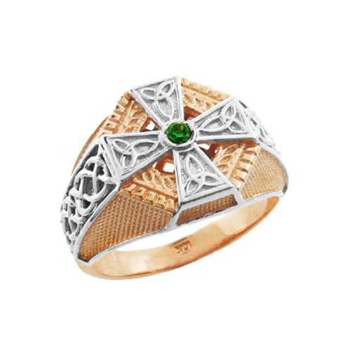 Textured 10k Two-Tone White and Rose Gold Infinity Knot Band Celtic Cross Ring for Men
