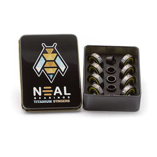 NEAL Precision Skate Bearings/3 Different Types - Ceramic - Swiss - Titanium/608rs - Skateboard - Longboard - Inline - Scooter. The Best Bearings GUARANTEED. (Titanium Stingers, 8 Pcs)