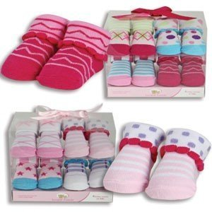 7cbe4255a464 Amazon.com   Baby Girl 4- Pack Socks Gift Set~Boxed With Bow~Baby Shower  and Newborn Gift   Beauty