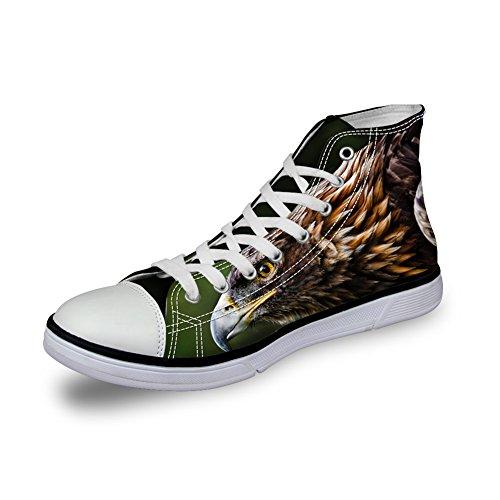 Pour U Conçoit 3d Zoo Animaux Motif Appartements Sneakers Pour Hommes Chaussures De Toile C4034ak