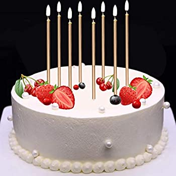 MOKARO 24 Count Birthday Candles Bulk For Christmas Party Cakes Champagne Gold 56inch Long Thin