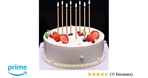 Mokaro 24 Count Birthday Candles Bulk For Christmas Party Cakes Champagne Gold 56inch Long Thin Celebration Luxurious Wedding Cupcake