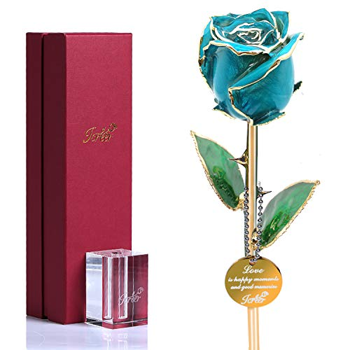 Icreer Gold Dipped Blue Rose Flower Gifts for Anniversary,Birthday,Valentine's Day,Wedding,Gift for Her,Mom,Wife,Girlfriend,Include Crystal Stand (A Birthday Girlfriend Gift For)