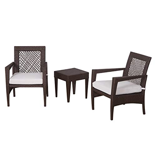 Auro Brisbane Outdoor Furniture | 3 Piece Rattan Patio Set | All-Weather Brown Wicker Bistro Set with 2 Water Resistant Olefin Cushioned Chairs & End Table | Porch, Backyard, Pool, Garden (Off White)