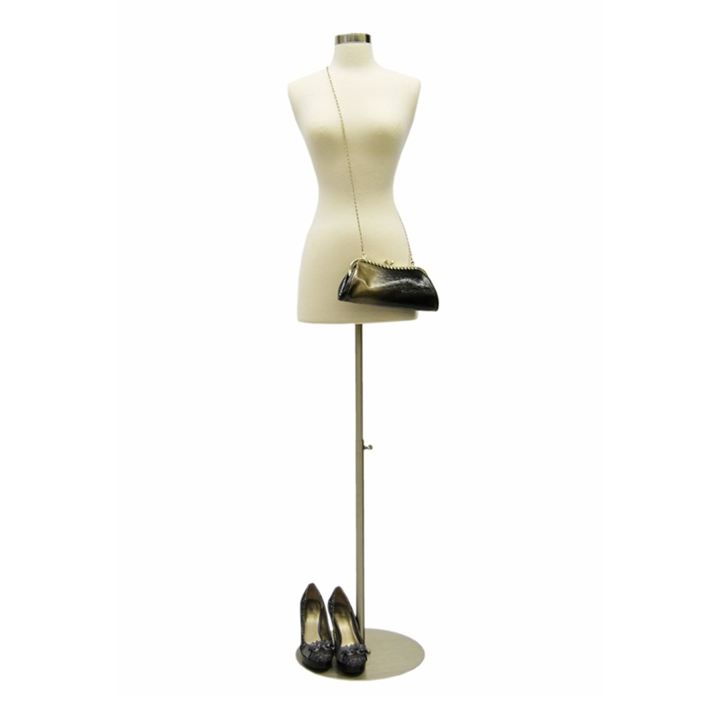 (JF-FWPW-4+BS-04) Size 2-4 Premium White Female Fully Pinnable Mannequin Dress Form With Round Brushed Metal Base and Neck Top. Roxy Display Inc. JF-FWPW-4+(BS-04)