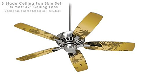 Palm Ceiling Fan Blade Covers (Summer Palm Trees - Ceiling Fan Skin Kit fits most 42 inch fans (FAN and BLADES NOT INCLUDED))