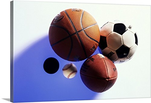 Canvas On Demand Premium Thick-Wrap Canvas Wall Art Print entitled Hockey puck and sports balls by Canvas on Demand