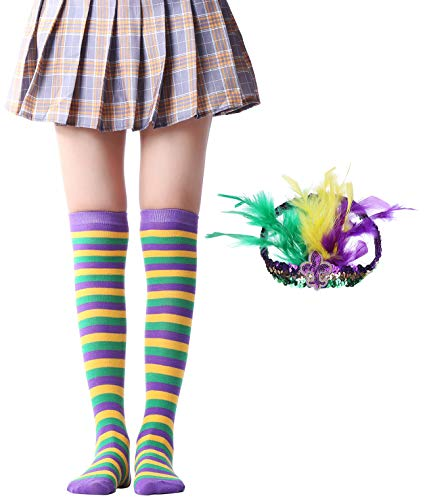 Over Knee Long Sock Striped Mardi Gras Socks St. Patrick's Day Stockings (Mardi Gras Socks Feather hair band Sets) -