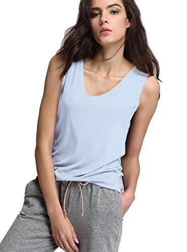Top Algodón Camisa Claro Del Mujer Ocasionales Escalier Tapas Sin Deporte Camiseta Azul Mangas Yqzfqxw87