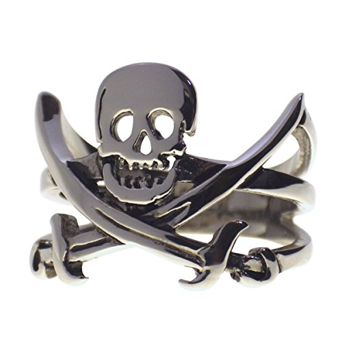 Fantasy Forge Jewelry Mens Calico Jack Rackham Jolly Roger Pirate Flag Ring Size 11