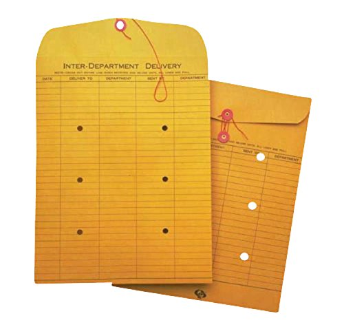 School Smart Inter Department Envelopes with String Button Closure - 10 in x 13 in - Box of 100