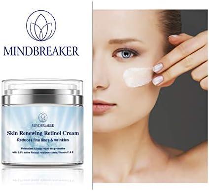 Crema hidratante de retinol al 2,5% para el rostro y el área de los ojos con vitamina C y ácido hialurónico para combatir el envejecimiento, las arrugas y el acné - crema facial Simplified Skin 50g