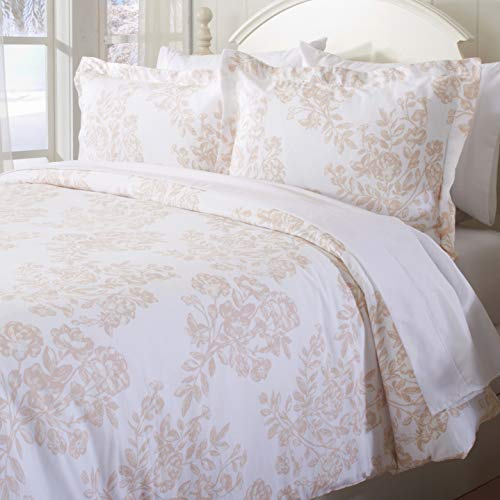 Great Bay Home Extra Soft Printed Flannel Duvet Cover with Button Closure. 100% Turkish Cotton 3-Piece Set with Pillow Shams. Belle Collection (Full/Queen, Mauve Chalk)
