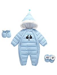 Happy Cherry Baby Hooded Snowsuit FleeceRomper with Feet GlovesZipperPadding Onesie