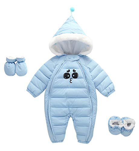 Happy Cherry Newborn Toddler Baby Clothes Girls Boys Romper Winter Jumpsuit Thicken Cotton Snowsuit 3 Pieces Blue 6-12 Months ()