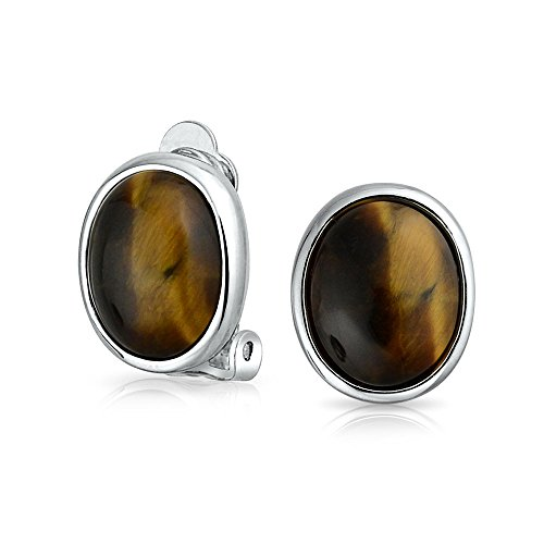 Basic Oval Brown Bezel Set Dome Button Style Clip On Earrings For Women Non Pierced Ears Silver Plated Brass Clip Tigers Eye Earrings