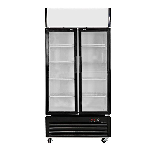 518L Glass Display Showcase Pull Doors 2-Door Commercial Refrigerator Beer Soda Cola Drinks Beverages Merchandiser Upright Fridge Cooler 18.3 cu. ft.