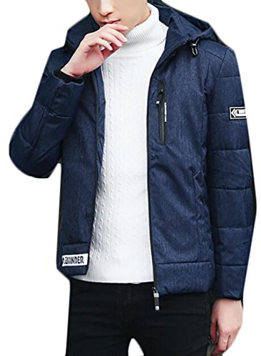 UK Packable Long Puffer Hooded Down Light today Men's Weight Jacket Blue Sleeve XqwEzxdnF