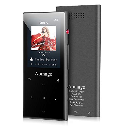 "Aomago MP3 Player with Bluetooth, HiFi Lossless Music Player with Speaker 2.4"" Screen Voice Recorder E-Book Metal Touch Botton FM Radio, Portable Pedometer, Support up to 128GB, Slim & Compact"