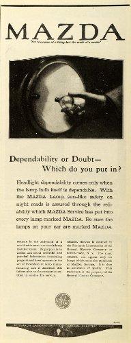 1920 Ad Mazda Lamp Electric Co New York Lighting Fixtures Headlight GE Logo - Original Print Ad from PeriodPaper LLC-Collectible Original Print Archive