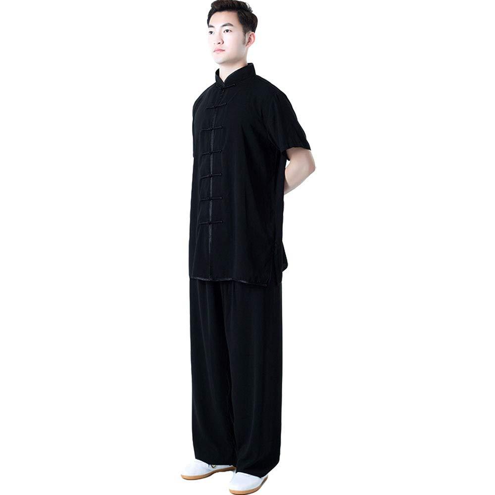 ZooBoo Unisex Short Sleeve Taichi Uniform Summer Kungfu Clothing Cotton Blend Martial Art Sets (XXL, Black) by ZooBoo