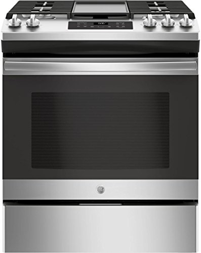 GE JGSS66SELSS 30 Inch Slide-in Gas Range with Sealed Burner Cooktop, 5.6 cu. ft. Primary Oven Capacity, in Stainless (Continuous Cast Iron Burner Grates)