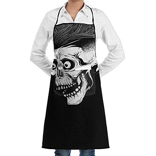 Yohafke Grill Aprons Kitchen Chef Bib Cool Halloween Skeleton Skull Kitchen Cooking Aprons with 2 Pockets for Women and Men-Adjustable Neck Strap Apron