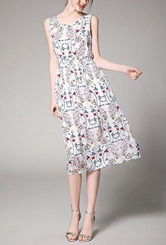 ... Sommerkleid Freizeitkleid  Huixin Damen Strandkleid mit Aufdruck Blumen  Vintage Boho Casual Midi Kleider Elegant Festlich Bekleidung Dresses  Ärmellos ... 473e15f019
