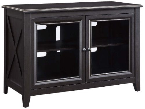 Whalen Furniture AVH-1 High Television Console, 44-Inch (Black Media Cabinet With Glass Doors)