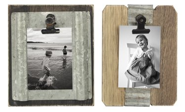 Assorted Wood & Corrugated Tin 2X3 Picture Clips - Set of 2 ()