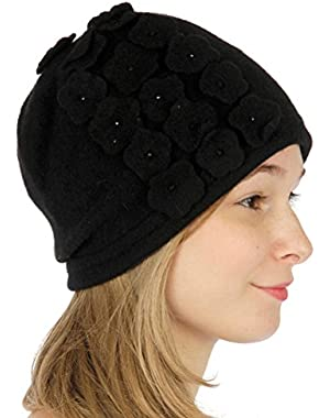 Wool hat with embellished flowers Black