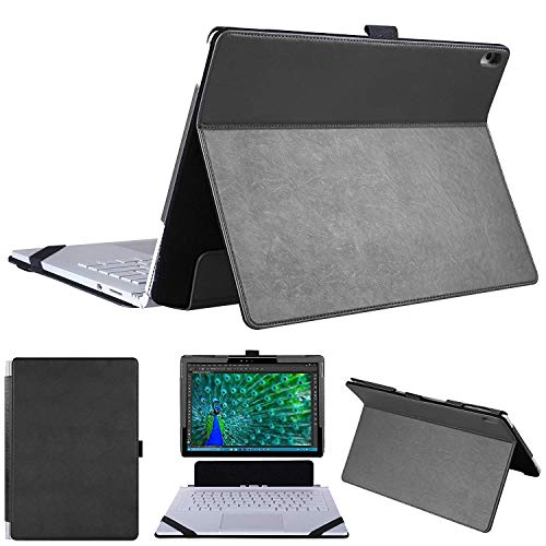 HoYiXi Microsoft Surface Book 2 Case 2 in 1 Kickstand Book Style Cover for Surface Book 13.5inch -Black - Microsoft Leather Case