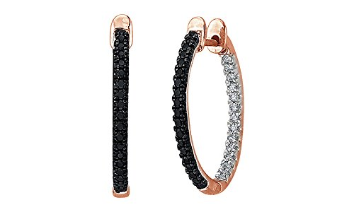 Black & White Natural Diamond Inside Out Hoop Earrings 10K Solid Rose Gold (1/3 Cttw, I2-I3 Clarity)