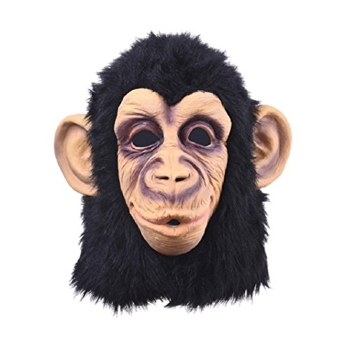 Game Maker Costume Hunger Games (Funny Monkey Head Latex Mask Full Face Adult Mask Breathable Halloween Masquerade Fancy Dress Party Cosplay Looks Real)