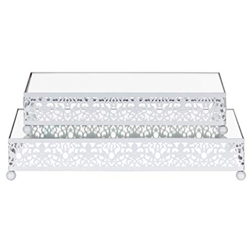 2-Piece Rectangular Mirror-Top Cake Stand Risers Dessert Tray Set (White) - Mirrored Painted Table
