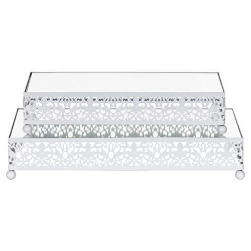 2-Piece Rectangular Mirror-Top Cake Stand Risers Dessert Tray Set (White)