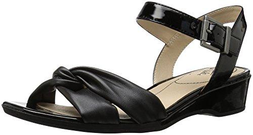 LifeStride Women's Monaco Sandal, Black, 9 M US (Patent Leather Slingback Wedges)