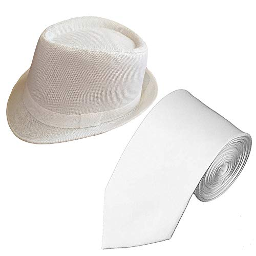 1920s Set Fedora Gangster Hat Costume Accessory and Tie,Men's Roaring 1920s Set Manhattan Fedora Hat for Men (White hat+White tie) ()