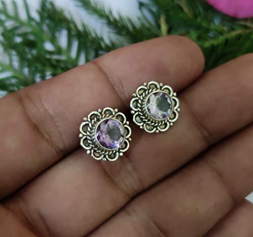 Amethyst gemstone sterling silver stud earrings, Amethyst studs, purple jewellery, everyday earrings, gift ideas, February Birthstone, Gemstone Earrings, Healing Crystal Studs