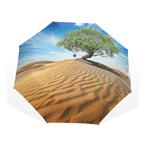LASINSU Paraguas Resistente a la Intemperie,Árbol En El Desierto En Duna De Arena Seco Pero Vivo Naturaleza Habitat Vida,Fitness Entrenamiento Fuerte Grunge Print