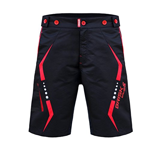 Bike bicycle Mtb mountain bikes bike shots cycle gear bike accessories cycling clothing road bike cycling shorts cycle bike store bike gear cycling Super shorts (Black Red, Large) by Brisk Bike