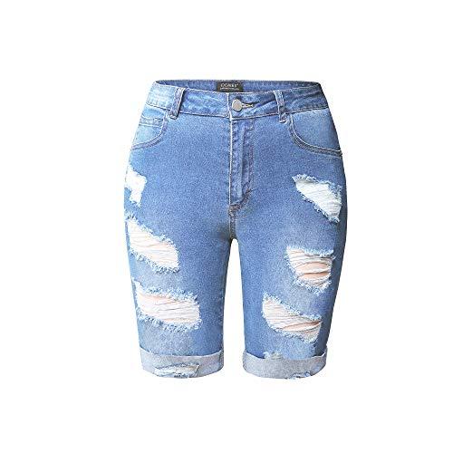 HOCAIES Womens High Waist Denim Shorts Knee Length Destroyed Stretch Bermuda Jean Shorts (Light Wash, 10)