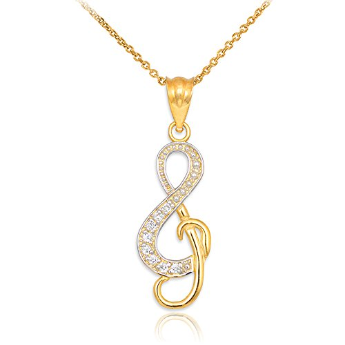 14k Yellow Gold Diamond Treble Clef Charm Music Note Pendant Necklace, 18