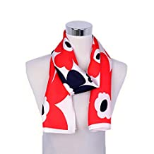 Herrico Women's Fashion Red Floral Light Weight Infinity Scarf Silk Long Shawl