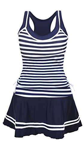 Striped Navy Dress Suit (UNIMONG Women's Tankini Striped Vintage Sweetheart Neckline Swimsuit Plus Size One Piece Swim Dress Navy and White Small)
