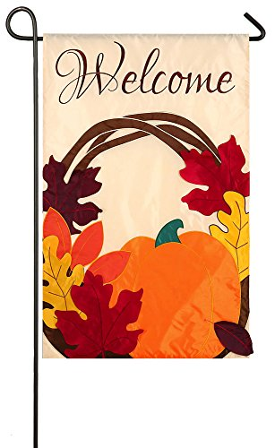 (Evergreen Applique Harvest Wreath Welcome Garden Flag, 12.5 x 18 inches)