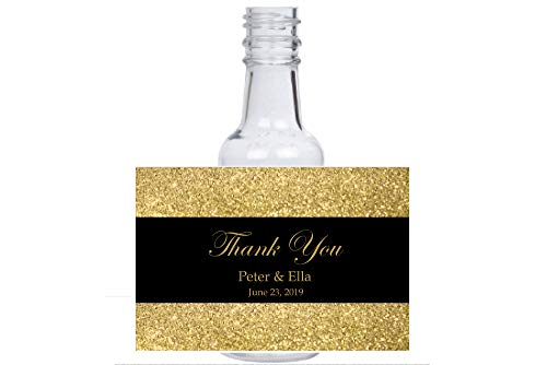 12 personalized Gold & Black glitter mini liquor bottles, caps, and labels for your wedding, engagement, or event party -