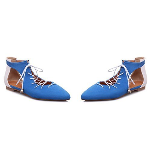 COOLCEPT Mujer Casual Cerrado Puntiagudo Hueco Gladiator Cordones Plano Court Bombas Zapatos Blue