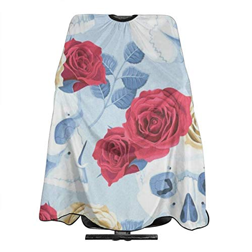 (Skulls And Roses Barber Salon Cape Apron Makeup Comb Out Cape Bib, Salon Hair Dye, Shampoo, Chemical Waterproof Gown Cloth for Adult/Women/Men)