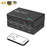 HDMI Switch 3 Port HDMI Switch with Remote Control and USB Power Adapter, HDMI Switches Supports 4K, 1080P, 3D